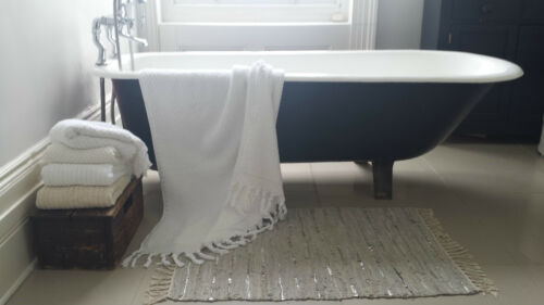 """Large /& Lux Heavy Weight /""""Bobbled/"""" 750GSM Turkish Cotton Bath Towel with Fringe"""