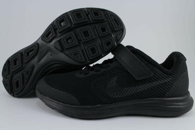 ccd9806f37b NIKE REVOLUTION 3 PSV TRIPLE BLACK MONO STRAP SLIP-ON BOYS GIRLS KIDS YOUTH  SIZE