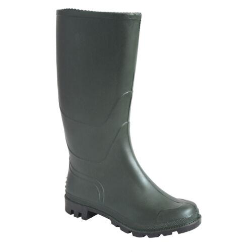 PortWest Men PVC Wellington non-sécurité Wellies bottes noir//vert multicolore Taille FW90