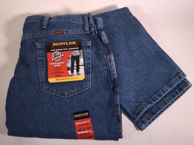 503e02b1 Wrangler Rustler Regular Fit Straight Leg Work Stonewash Denim Jeans Men's  40x32