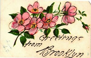 Vintage Postcard - Greetings From Brooklyn New York NY Floral With Glitter #4149