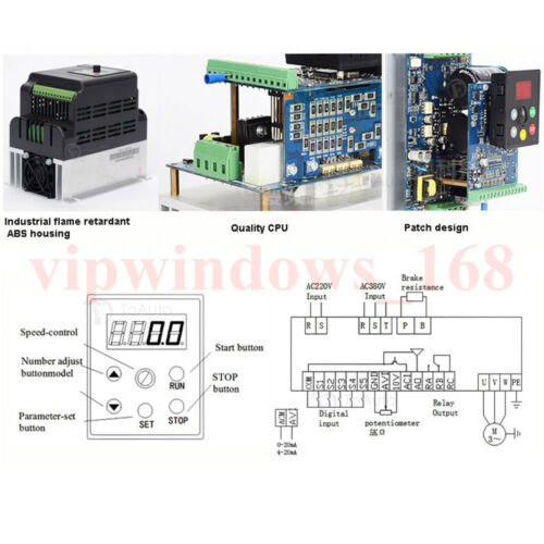 2.2KW VFD INVERTER 3HP VARIABLE FREQUENCY DRIVER INVERTER /&5METER CABLE FOR CNC