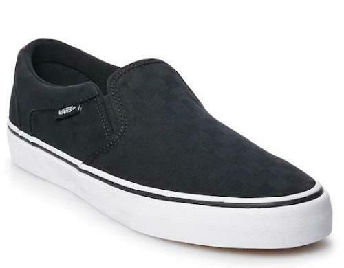 Vans Asher DX Men's Loafers Black Checker Slip On Canvas Athletic shoes NEW