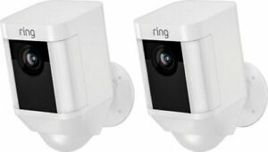 Ring Spotlight Cam Wired Outdoor Rectangle Security Camera White *New//Sealed