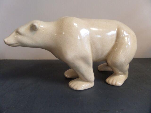 Statue ours polaire en faïence craquelée de style art déco animal décoration