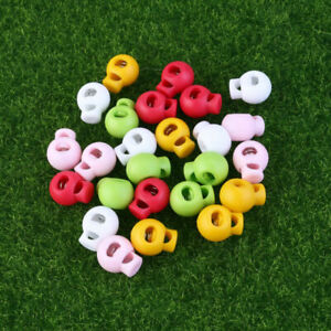 25X Plastic Cord Lock Round Spring Drawstring Stopper Toggle Clip Random Color