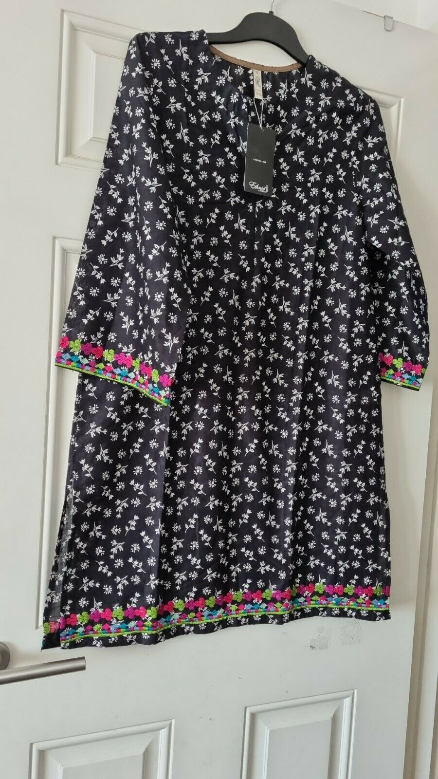 Ethnic by outfitters kurta embroidered black 100% original lawn