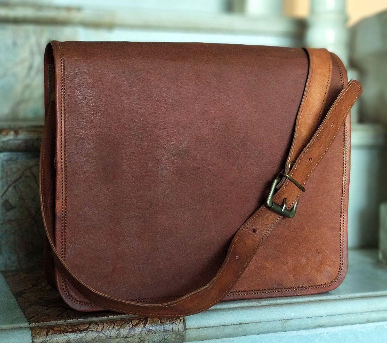 Laptop Vintage Leder Handtasche Cross Body Schultertasche Messenger Bag Laptop     | Großer Verkauf