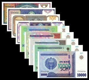 UZBEKISTAN-SET-9-PCS-5-25-50-100-200-500-1000-5000-10000-SUM-1994-2017-UNC