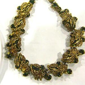 Vintage-KRAMER-Necklace-Green-Rhinestone-HIGH-END-Estate-Designer-Flowers-Leaves
