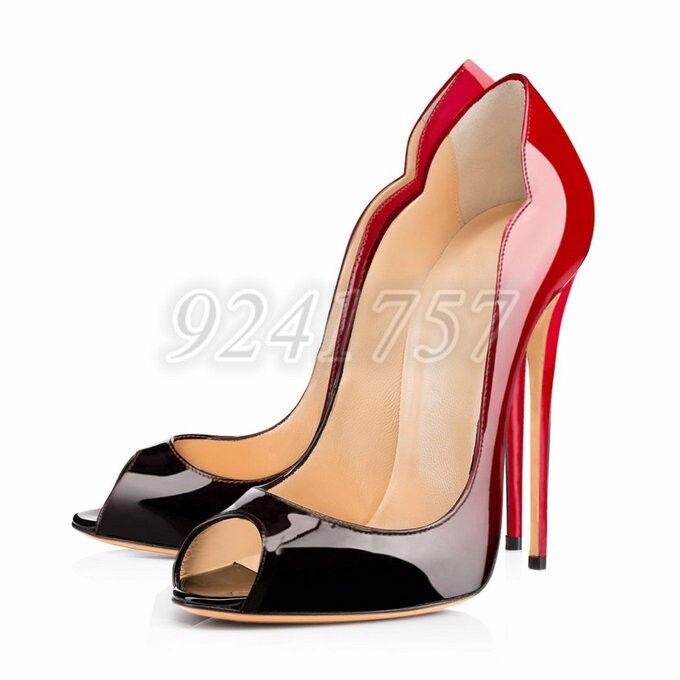 Sexy Damen Schuhe Peeptoe Pumps Highheels 12cm Hoher Absatz Mehrfarbig Gr:34-45