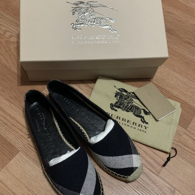 016cf6cb5 BURBERRY Hodgeson Navy Check Canvas Espadrille Flats Shoes Size 39 EU NEW