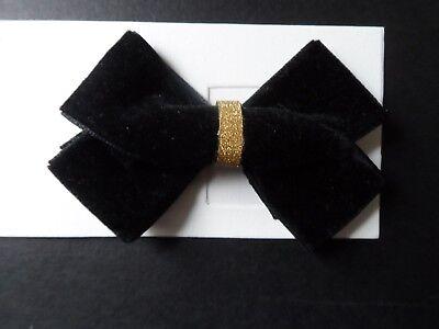 environ 7.62 cm Femme//Filles Large 3 in Noir//Gold Velvet Bow hair bow clip TÊTE NŒUD BARRETTES