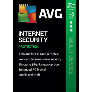 AVG Internet Security (5 Devices) (1-Year Subscription)