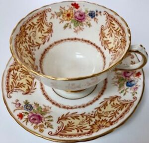 Three/3 1930's Vintage H&M Sutherland Bone China Cups & Saucers- Made in England