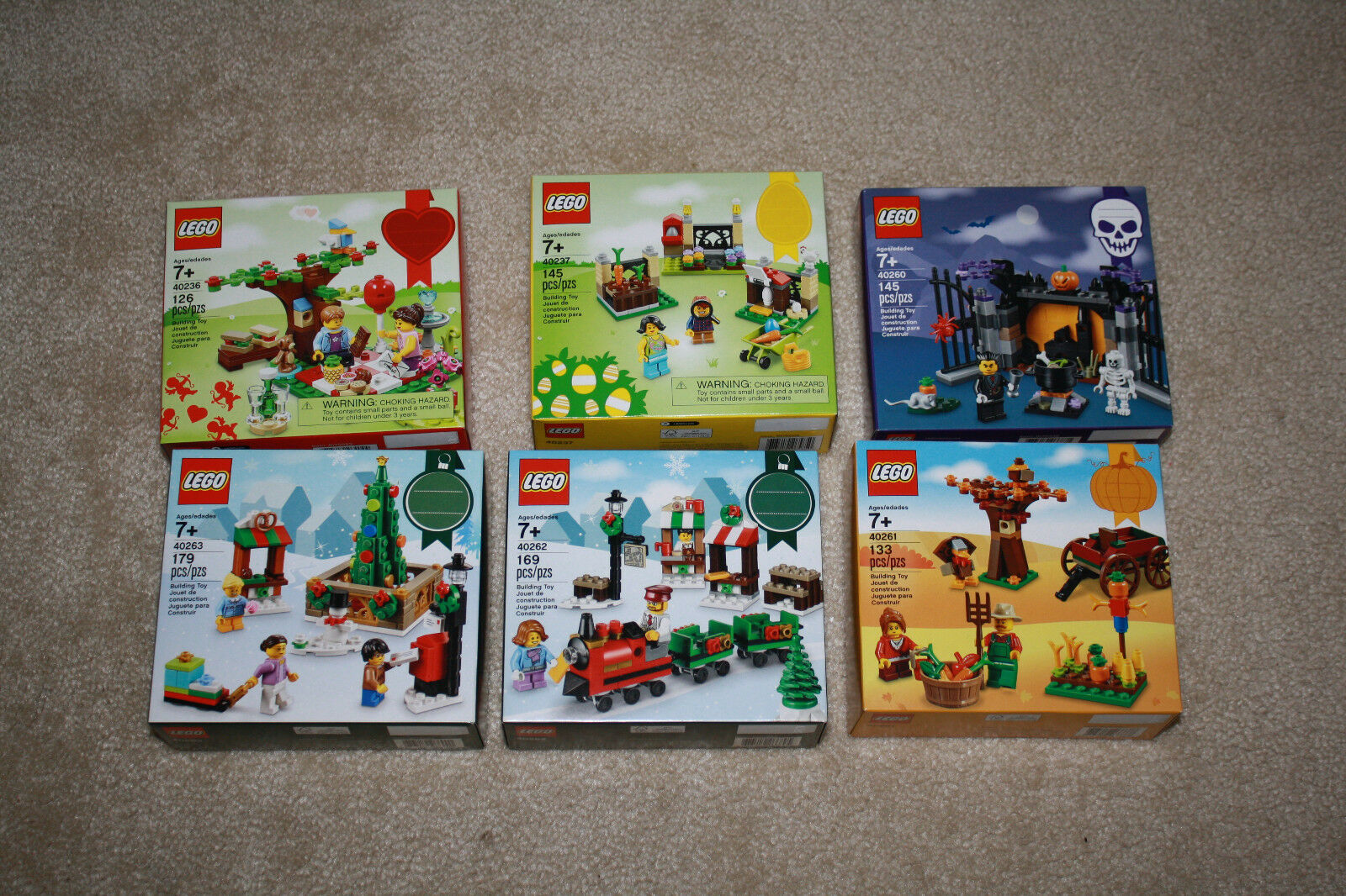 Lego 2017 Seasonal Set Lot 40236 40237 40260 40261 40262 40263 - Free Shipping
