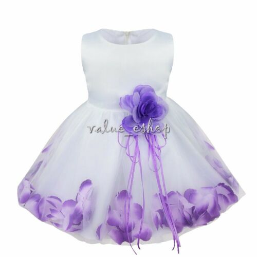 Flower Girls Dress Petals Wedding Bridesmaid Princess Formal Party Gown Pageant