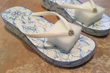 Tory Burch Thandie Wedge Flip Flop - White Ellora Combo Size 11 (NIB)