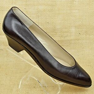 Bruno-Magli-Women-Made-in-Italy-Brown-Leather-Pumps-Block-Heel-6-5NN