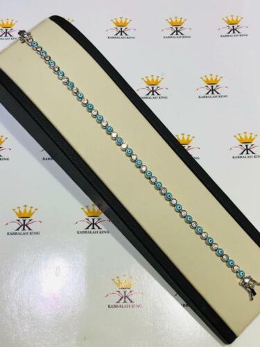"Platinum Sterling Silver White Sapphire Blue Enamel Evil Eye Tennis Bracelet 6/""L"