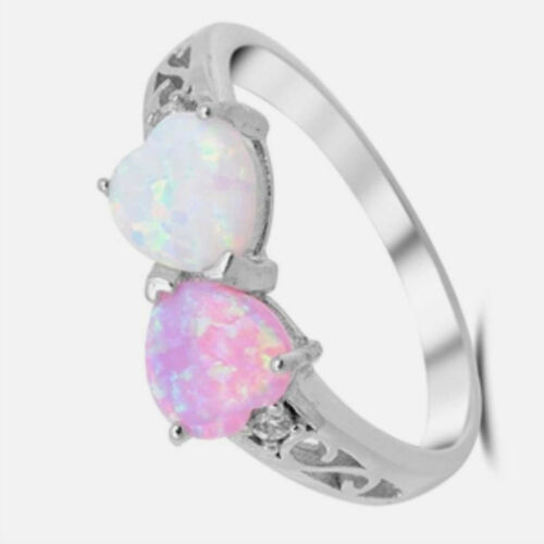 USA Seller Hearts Ring Sterling Silver 925 Jewelry White /& Pink Lab Opal Size 7
