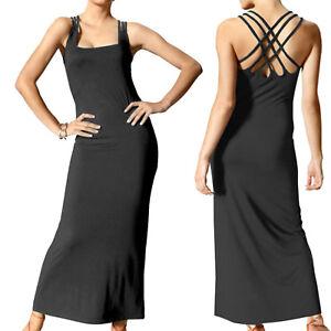 genial-sexy-Abend-Jersey-MAXI-Basic-Casual-Kleid-DRESS-schwarz-Gr-34-XS