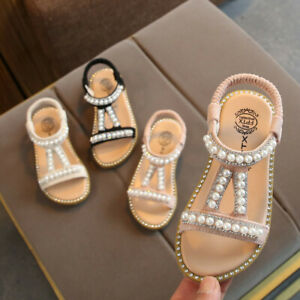 Toddler-Child-Kids-Baby-Girls-Pearl-Crystal-Single-Princess-Roman-Shoes-Sandals