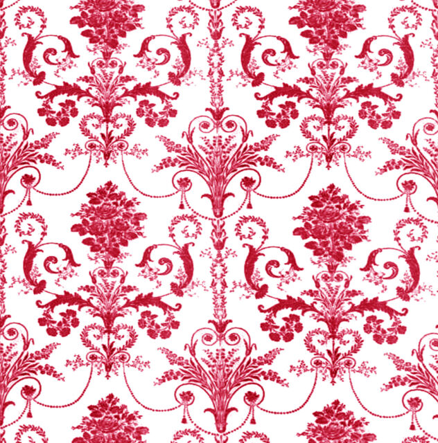 Dolls House Wallpaper 1/12th 1/24th scale Red Quality Paper #226