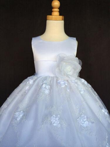 White Floral Embroidery Dress Flower Girl Christmas Baptism Communion Satin #011