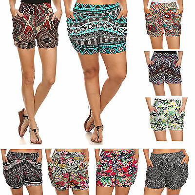 Hot Sexy Womens High Waist Multicolor Print Mini Harem Shorts Pants