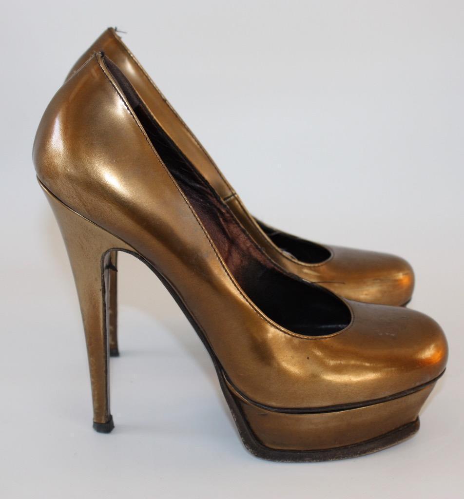 Yves Saint Laurent Ysl bronze copper Plataforma Tacones Zapatos Reino Unido 4