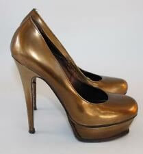 YVES SAINT LAURENT YSL bronze copper platform heels shoes size 37 Uk 4