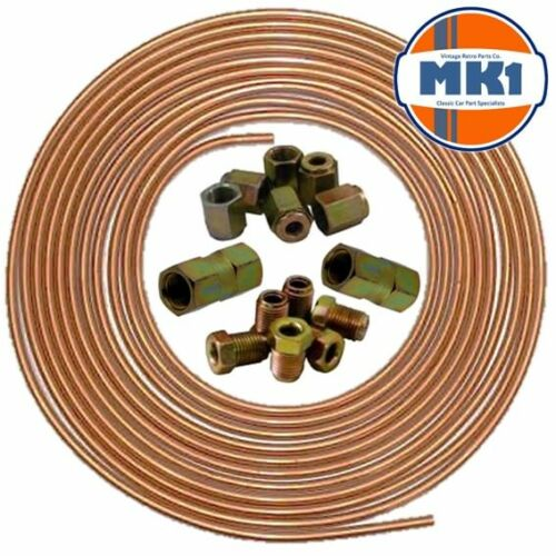 """Vw Caddy 25ft 3//16/"""" Copper Brake Pipe Male Female Nuts Joiner Tube Joint Kit"""