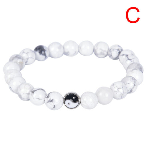 Men Women Natural Gemstone Beads Stone Yin Yang Beaded Bracelet Jewelry Gift ROQ