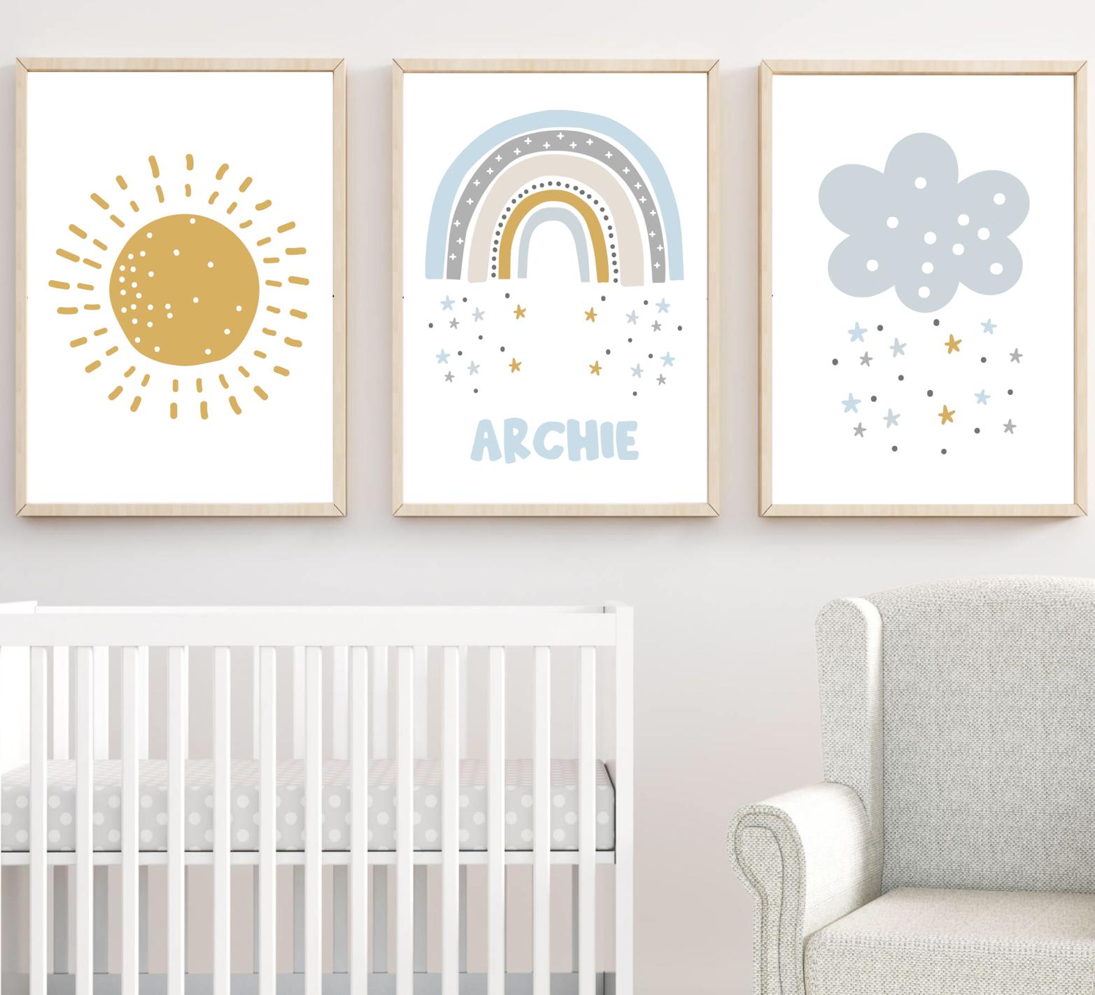 Nube de Arco Iris Sol Personalizados Vivero impresiones, Bebé Niño Pared Arte Impresiones De Arco Iris