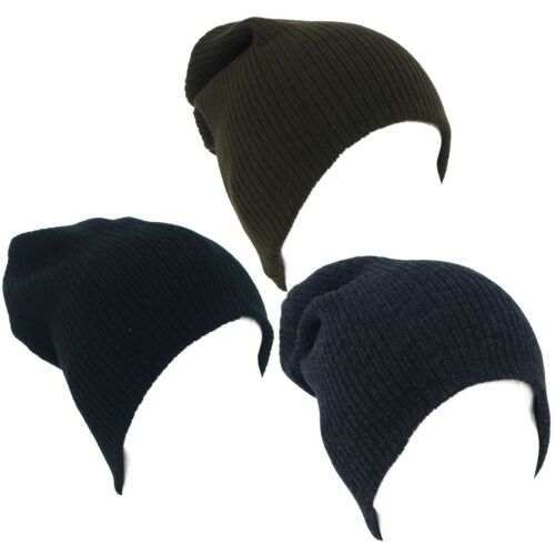 Plain Ribbed Unisex Baggy Beanie Hat