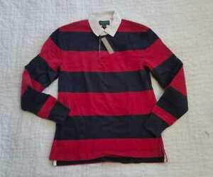 b8a6f4b71e4 NEW MEN'S XS J CREW 1984 RUGBY LONGSLEEVE POLO SHIRT IN RED GORDON ...