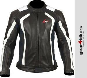 Weise Corsa RS Black White Short Leather Motorcycle Armoured Jacket Sport