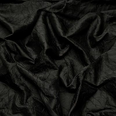 "By The Yard SM-410 52/"" Wide Black Crushed Shantung Dupioni 100/% Silk Fabric"