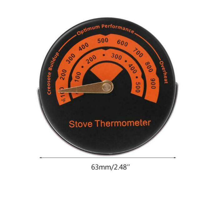 4YourHome Magnetic Fire Stove Flue Thermometer Black