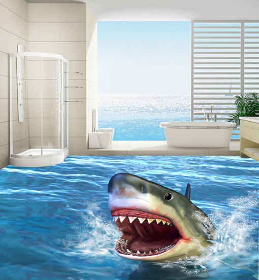 3D Big Mouth Shark 5 Floor WallPaper Murals Wall Print Decal AJ WALLPAPER Summer
