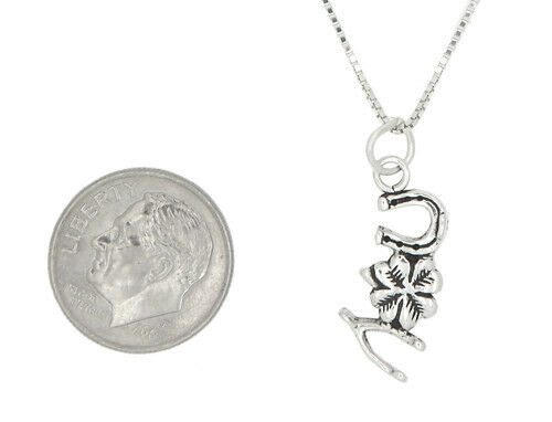 Sterling Silver Wishbone CLOVER HORSESHOE Bonne Chance Charme Collier Pendentif