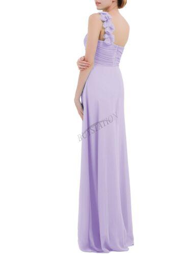 Damen One Shoulder Blumen Chiffon Kleid Abendkleider Brautjungfernkleider Lang