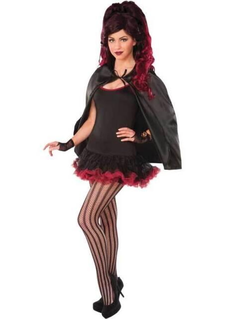 Black Fantasy Cape Cloak Robe Fancy Dress Superhero Halloween Vampire Magician