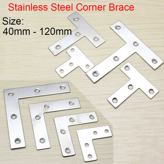 Stainless Steel L T Shaped Right Angle Corner Brace Joint Bracket Plate Support