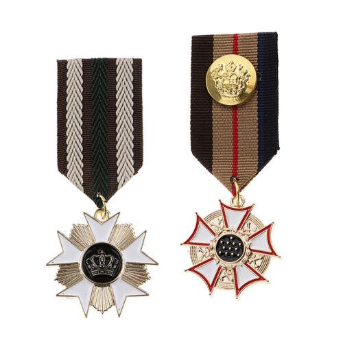 2pcs Star Géométrique Pendentif tissu médaille uniforme INSIGNE broche pin Costume