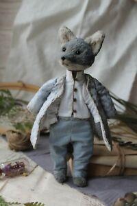 Teddy-Handmade-Interior-Toy-Collectable-Gift-Animal-Doll-OOAK-Wolf-Decor-Kimono