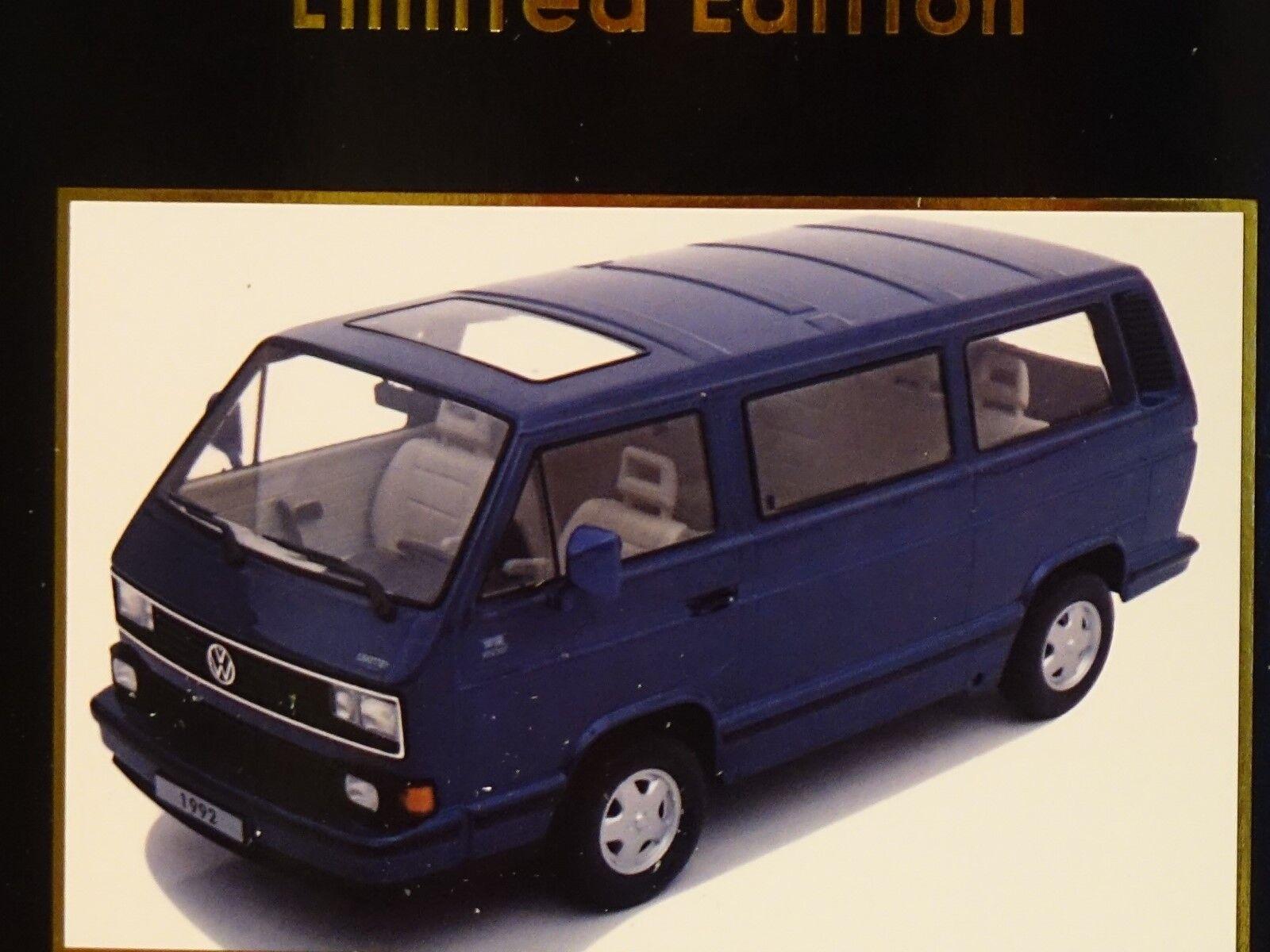 VW Bus t3 1992 bleu métallisé 1 18 KK-Scale 180141 NOUVEAU & NEUF dans sa boîte