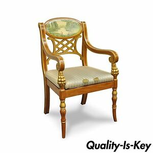 Astonishing Details About Decorator Italian Regency Style Hand Painted Gold Saber Leg Accent Arm Chair Evergreenethics Interior Chair Design Evergreenethicsorg