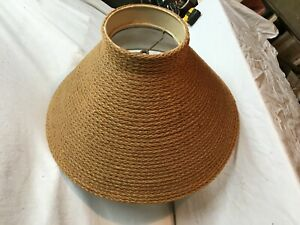 Vintage-Mid-Century-Cloth-Rope-Light-Shade-Floor-Lamp-Shade-Shabby-Decor
